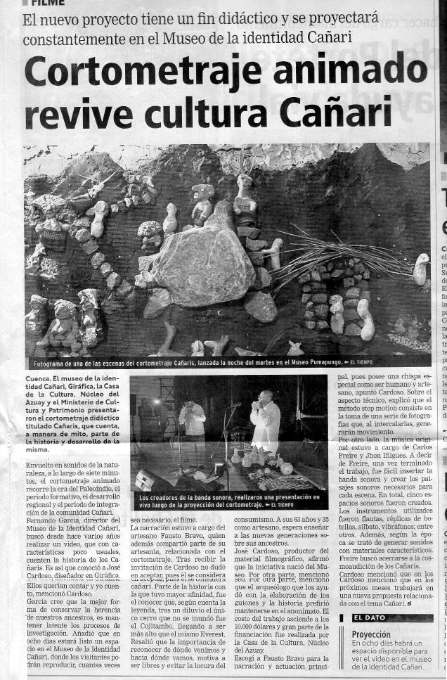 29 julio 2014, Diario El Tiempo, Cuenca, Ecuador interior