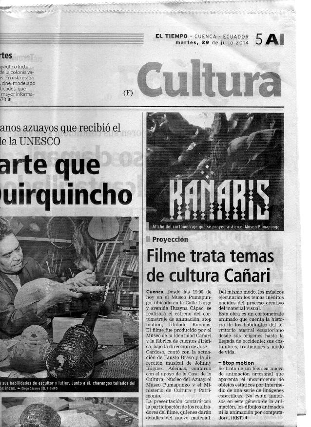 29 julio 2014, Diario El Tiempo, Cuenca, Ecuador portada